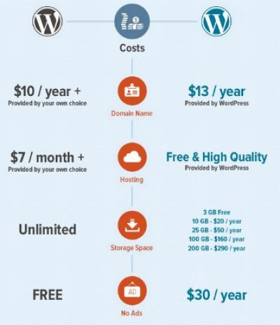 wordpress.com vs wordpress.org(cost infographic)